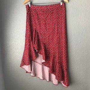 SHEIN Ruffle Asymmetrical Heart Print Skirt